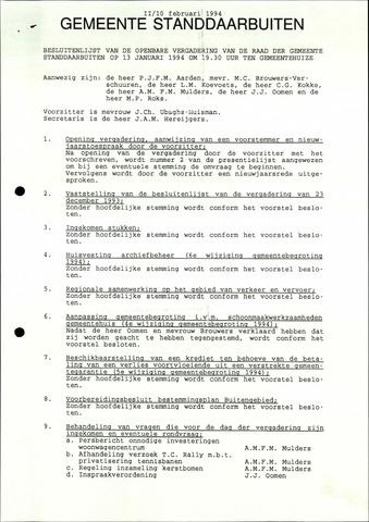 Standdaarbuiten: Notulen gemeenteraad, 1937-1996 1994-01-01