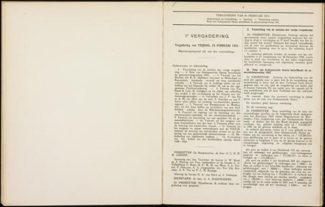 Roosendaal: Notulen gemeenteraad, 1916-1999 1921