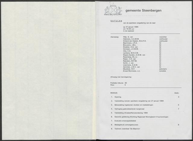 Steenbergen: Notulen gemeenteraad, 1920-1996 1994-01-01
