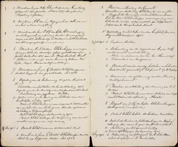 Roosendaal: Inhoudsopgaven notulen, 1849-1903 1903
