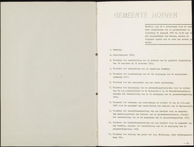 Hoeven: Notulen gemeenteraad, 1928-1996 1975-01-01