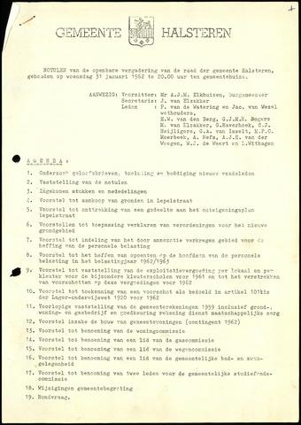 Halsteren: Notulen gemeenteraad, 1960-1996 1962