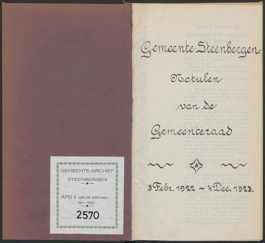 Steenbergen: Notulen gemeenteraad, 1920-1996 1922-01-01