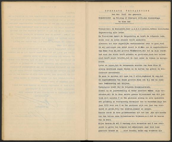 Woensdrecht: Notulen gemeenteraad, 1922-1996 1939-01-01