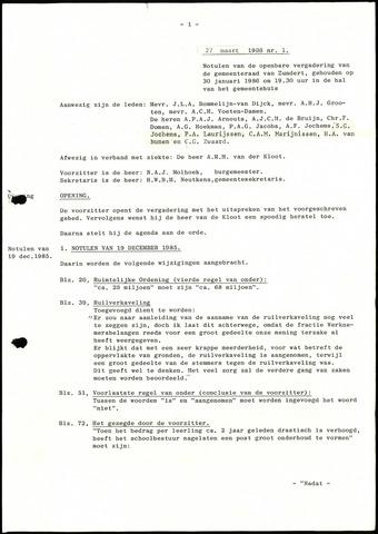 Zundert: Notulen gemeenteraad, 1934-1988 1986-01-01