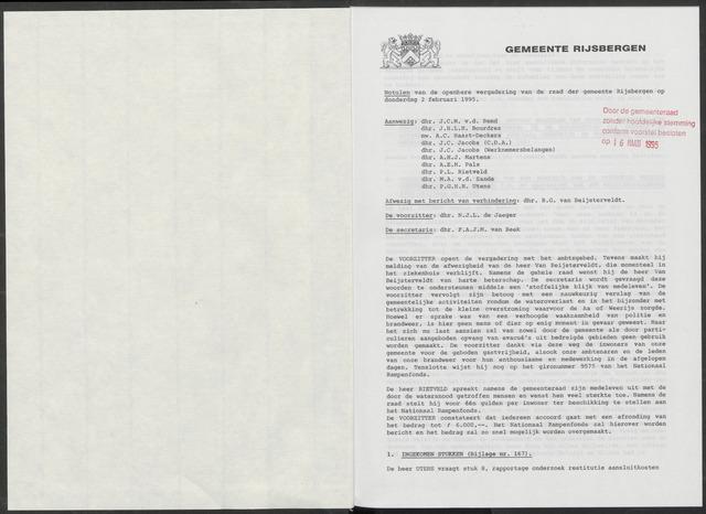 Rijsbergen: Notulen gemeenteraad, 1940-1996 1995