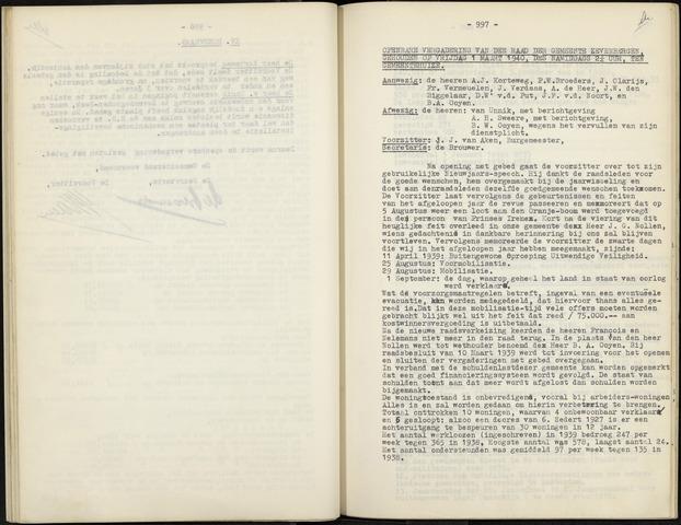 Zevenbergen: Notulen gemeenteraad, 1930-1996 1940-01-01