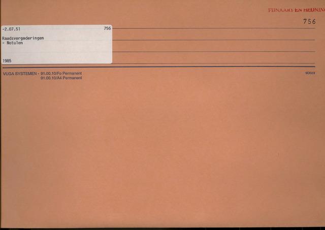 Fijnaart en Heijningen: notulen gemeenteraad, 1934-1995 1985