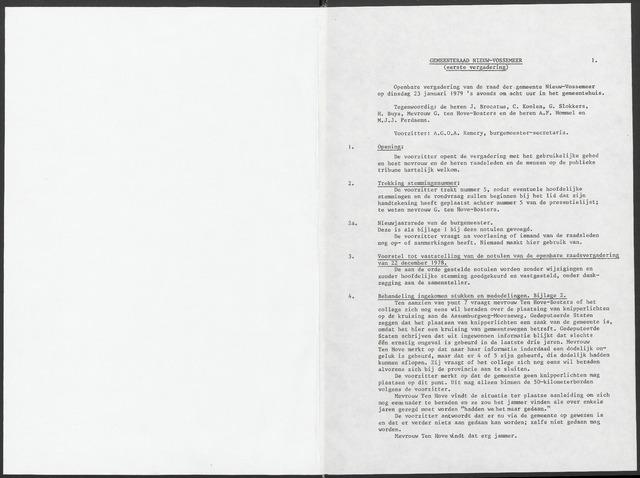 Nieuw-Vossemeer: Notulen gemeenteraad, 1957-1996 1979-01-01