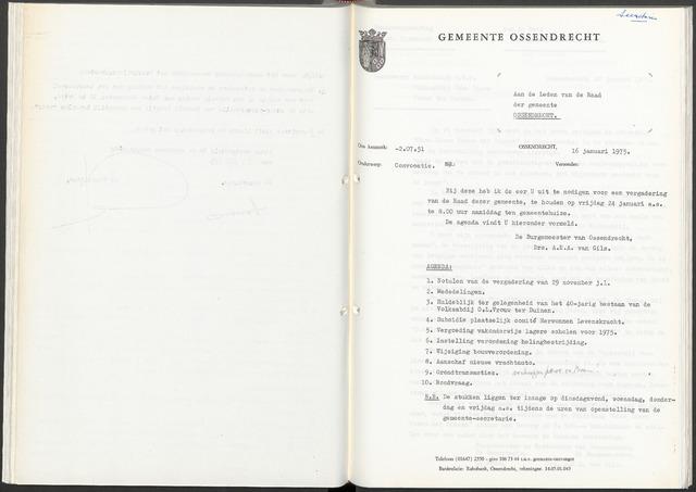 Ossendrecht: Notulen gemeenteraad, 1920-1996 1975