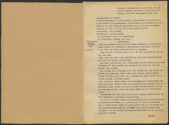Zundert: Notulen gemeenteraad, 1934-1988 1936-01-01