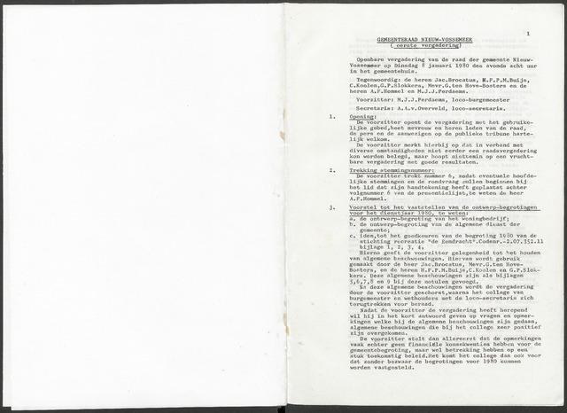 Nieuw-Vossemeer: Notulen gemeenteraad, 1957-1996 1980-01-01