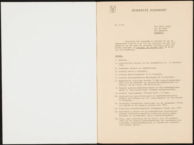 Klundert: Notulen gemeenteraad, mei 1933-1996 1977