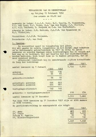 Oudenbosch: Notulen gemeenteraad, 1939-1994 1952-01-01
