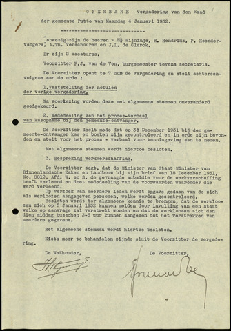 Putte: Notulen gemeenteraad, 1928-1996 1932-01-01