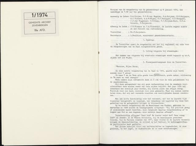 Zevenbergen: Notulen gemeenteraad, 1930-1996 1974-01-01