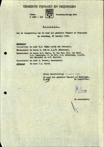 Fijnaart en Heijningen: notulen gemeenteraad, 1934-1995 1959