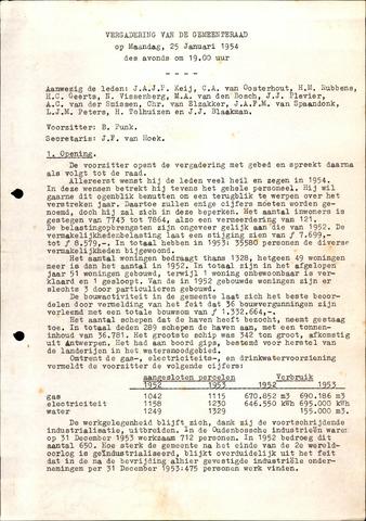 Oudenbosch: Notulen gemeenteraad, 1939-1994 1954-01-01