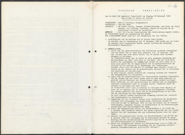 Woensdrecht: Notulen gemeenteraad, 1922-1996 1963-01-01