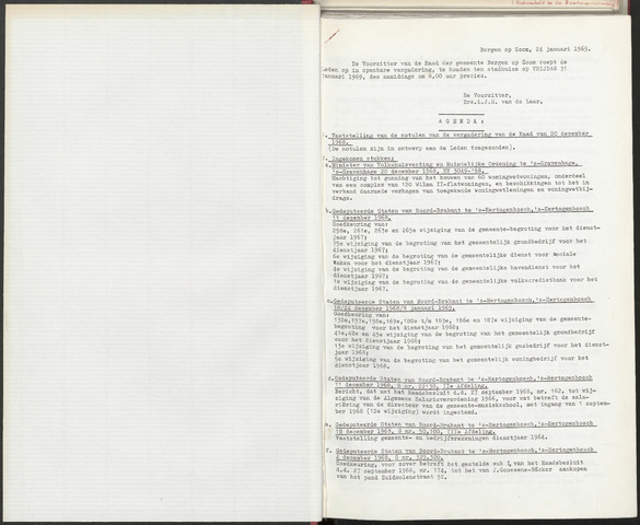 Bergen op Zoom: Notulen gemeenteraad, 1926-1996 1969-01-01