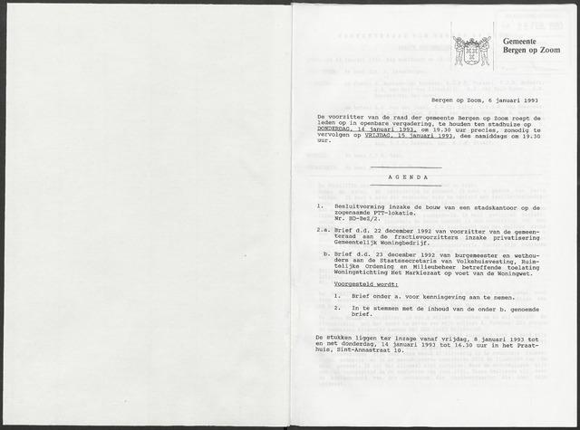 Bergen op Zoom: Notulen gemeenteraad, 1926-1996 1993-01-01