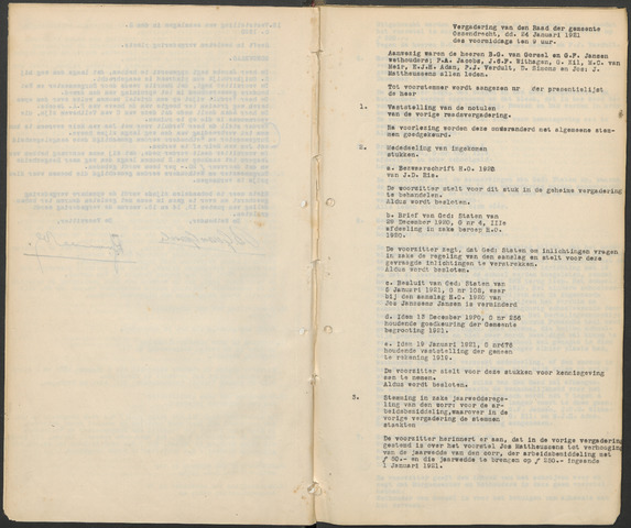 Ossendrecht: Notulen gemeenteraad, 1920-1996 1921