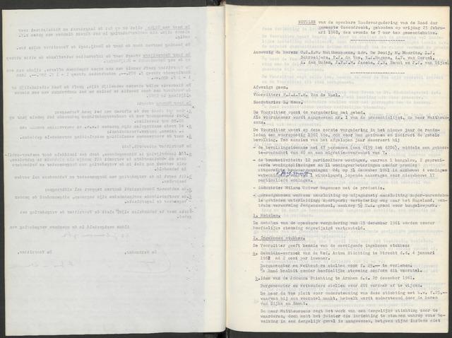 Ossendrecht: Notulen gemeenteraad, 1920-1996 1962