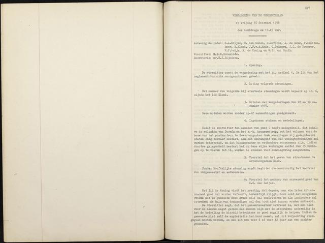 Zevenbergen: Notulen gemeenteraad, 1930-1996 1956-01-01
