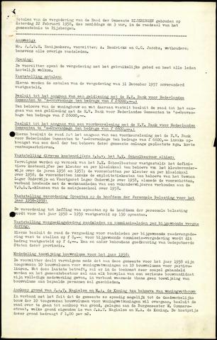 Rijsbergen: Notulen gemeenteraad, 1940-1996 1958