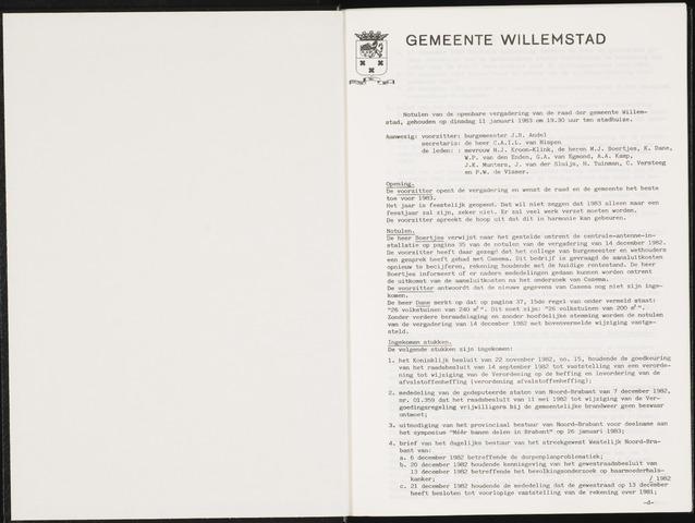 Willemstad: Notulen gemeenteraad, 1927-1995 1983-01-01