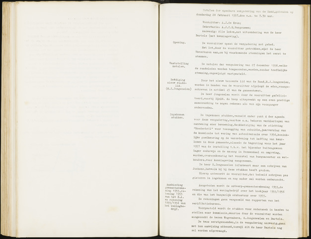 Hoeven: Notulen gemeenteraad, 1928-1996 1957-01-01