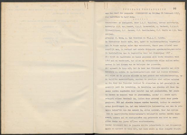 Woensdrecht: Notulen gemeenteraad, 1922-1996 1947-01-01