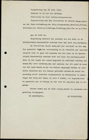 Roosendaal: Notulen gemeenteraad (besloten), 1919-1935 1922