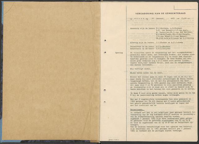 Zundert: Notulen gemeenteraad, 1934-1988 1965-01-01