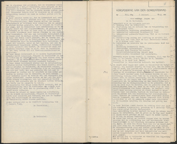 Huijbergen: Notulen gemeenteraad 1935-1996 1949-01-01