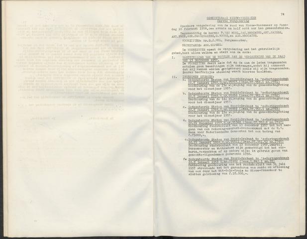 Nieuw-Vossemeer: Notulen gemeenteraad, 1957-1996 1958-01-01