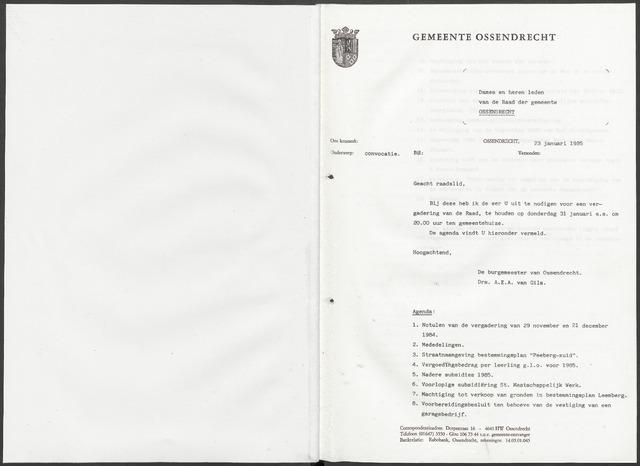 Ossendrecht: Notulen gemeenteraad, 1920-1996 1985