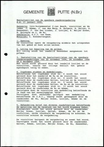 Putte: Notulen gemeenteraad, 1928-1996 1995-01-01