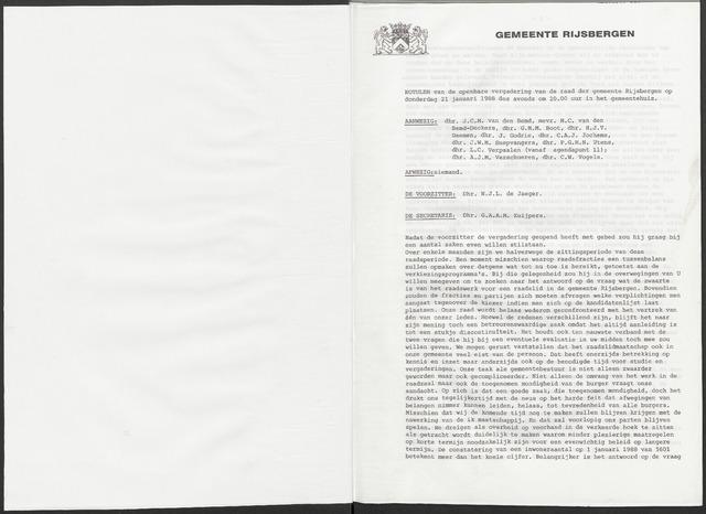 Rijsbergen: Notulen gemeenteraad, 1940-1996 1988