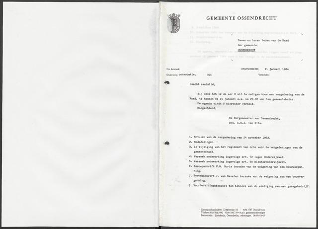Ossendrecht: Notulen gemeenteraad, 1920-1996 1984