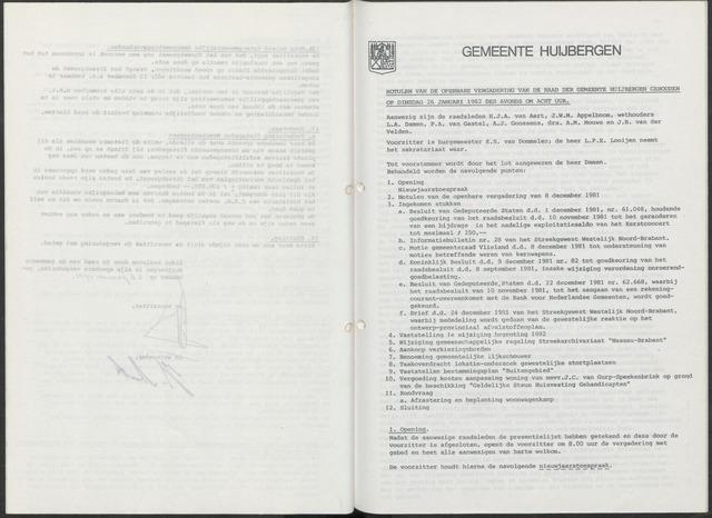 Huijbergen: Notulen gemeenteraad 1935-1996 1982-01-01