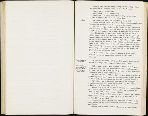 Hoeven: Notulen gemeenteraad, 1928-1996 1954-01-01
