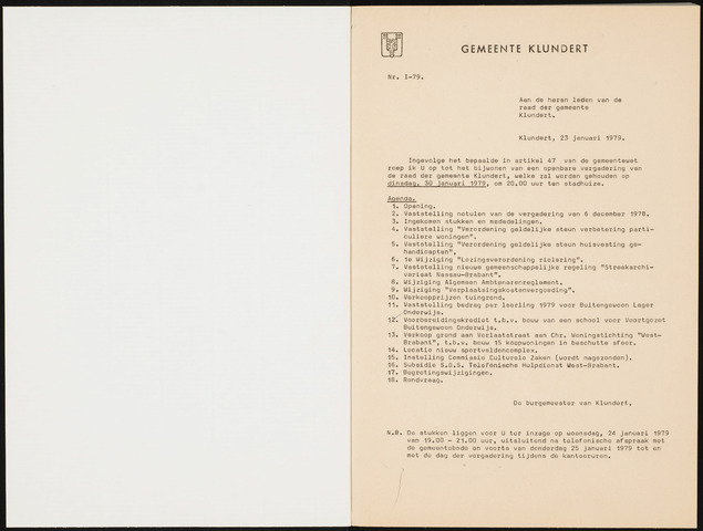 Klundert: Notulen gemeenteraad, mei 1933-1996 1979