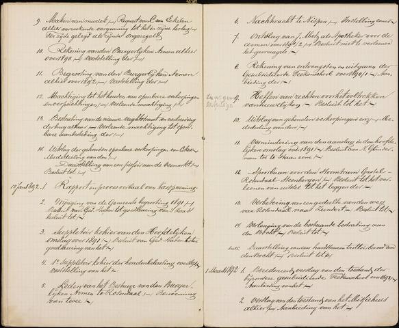 Roosendaal: Inhoudsopgaven notulen, 1849-1903 1892
