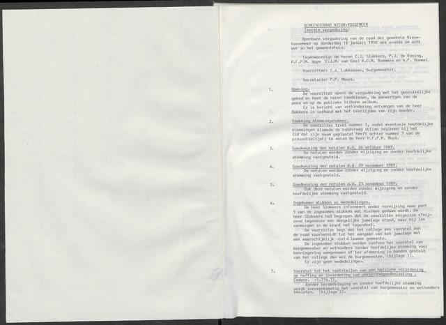 Nieuw-Vossemeer: Notulen gemeenteraad, 1957-1996 1990-01-01