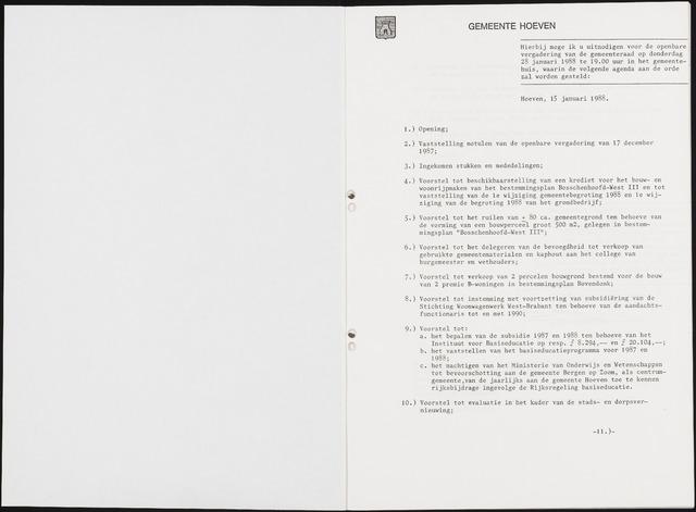 Hoeven: Notulen gemeenteraad, 1928-1996 1988-01-01