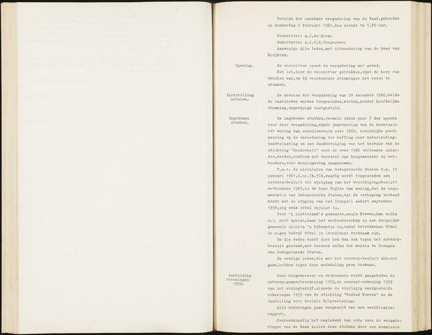 Hoeven: Notulen gemeenteraad, 1928-1996 1961-01-01