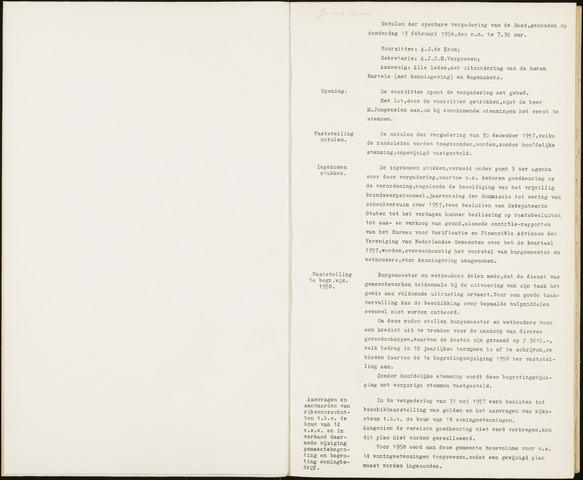Hoeven: Notulen gemeenteraad, 1928-1996 1958-01-01