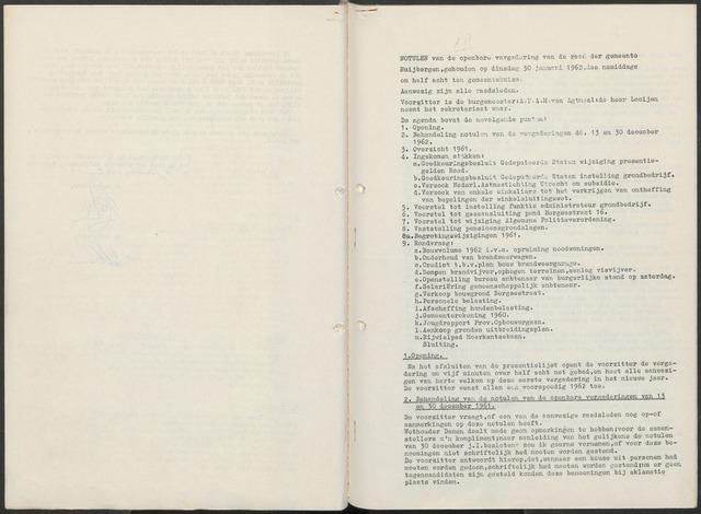 Huijbergen: Notulen gemeenteraad 1935-1996 1962-01-01
