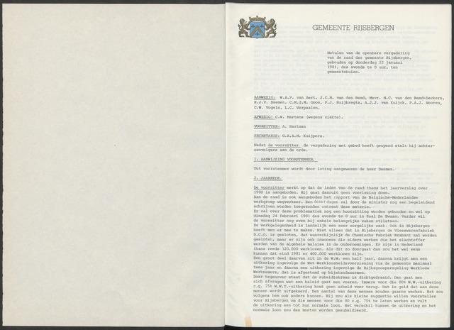 Rijsbergen: Notulen gemeenteraad, 1940-1996 1981